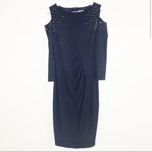 Caché Black Formal Studded Long Sleeve Dress 2